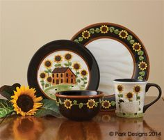 Country Primitive Dishes - House and Sunflower Dinnerware - Country Decor, Primitive Decor, Bedding, Braided Rugs