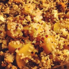 Day #280 - as promised to @Jill Lamstein of Spain, a recipe w/bellota goats cheese! Diced up in this roasted squash, quinoa & bulgur wheat salad