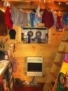 the side wall with our heater, ventilation fan and (clearly) laundry line