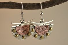 Dangle Metalsmith Earrings - Mixed Metal Earrings - Artisan Earrings via Etsy...