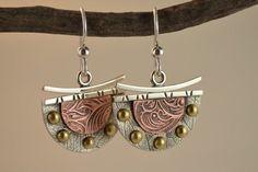 Dangle Metalsmith Earrings - Mixed Metal Earrings - Artisan Earrings via Etsy...