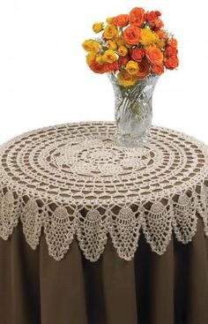 Pineapple crochet lace table topper from the free pattern collection