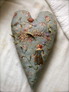 "Folk Embroidery Ideas Embroidered Folk Heart ""Garden Lady"" from Notforgotten Farm™ Folk Embroidery, Embroidery Stitches, Embroidery Patterns, Machine Embroidery, Textiles, Fabric Hearts, Art Du Fil, Heart Art, Embroidery Techniques"