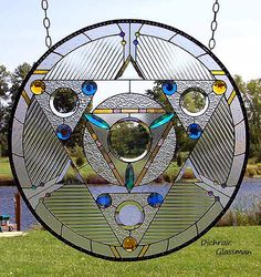 Dichroic Stained Glass Panel disc Medicine Wheel sacred geometry clear