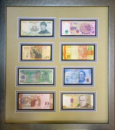 These foreign bills are unique, colorful, and looking great paired with a classic silver frame! Designed and framed at Art & Frame Express in Edison NJ.