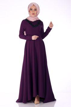 #tesettur İnci Detaylı Abiye Elbise 0207 - Mürdüm -  - Price: tl279.90. Buy now at https://www.havvaadem.com/yuvarlak-yaka-incili-krep-abiye-murdum-oben-17342