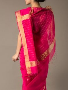 Cotton silk handwoven saree in Fushia pink by Ecoloom online at www.craftisan.in