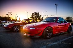 Miata in a Sunset - This was one of the reddest red colors we have ever seen, the photo does not do the justice. https://www.youtube.com/watch?v=gIAdrJKpEcw  Here is also a video and interview with the owner #miata #red #turbo #mx5 #na