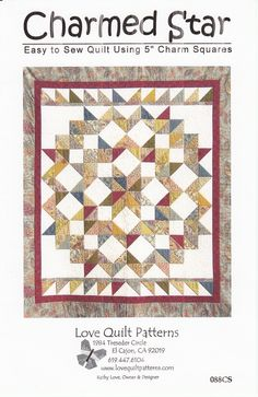Charmed Star 66 1/2in x 76in By Love, Kathy  - Approx. 66-1/2in x 76in. Easy to sew using pre-cut 5in squares (charm squares).