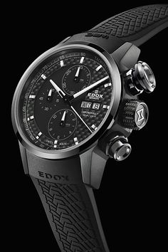 dedce11ef EDOX Chronorally Automatic Chronograph Tire tread strap. Carbon Fiber Face  $3600 Cool Watches, Rolex