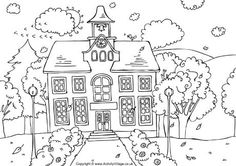 Coloring Page-School HouseKidsfreecoloring.Net | Free Download Kids Coloring Printable