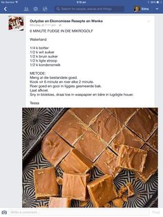 6 Minute fudge in mikrogolf-oond Fudge Recipes, Candy Recipes, Sweet Recipes, Baking Recipes, Dessert Recipes, Desserts, Microwave Baking, Microwave Fudge, Microwave Recipes