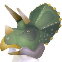 FREE PDF printable print and cut full head mask triceratops dinosaur Origami Halloween Decorations, Halloween Paper Crafts, Halloween Costumes For Kids, Paper Decorations, Diy Halloween, Kirigami, Dinosaur Mask, Dinosaur Puppet, Dinosaur Party