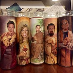 This one has Frank! All FIVE of the Its Always Sunny in Philadelphia characters! Five fully functioning, regular sized white candles, unscented, with Frank Reynolds, sweet D, Mac, Dennis and Charlie as our patron saints. I have a few that Ive been burning, it looks incredible with the light behind it. The picture is on the outside of the candle, and covered in plastic in order to retain the magic. ;)  I try to ship within 24 hours, regardless of stock. I ship Priority only, so thats where…