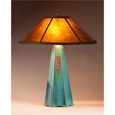 Six Sided Viridian Glaze Table Lamp Hopewell Collection with Amber Mica Shade by Jim Webb Jim Webb, Types Of Ceramics, Ceramic Table Lamps, Color Tile, Lamp Bases, Floor Lamp, Light Fixtures, Bulb, Lights