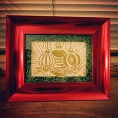 Merry Christmas linoleum block print with GLITTER!!!