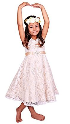 a77ba317dc9 Bow Dream Lovely Lace V-Neck Flower Girl Dress Made of high quality Lace
