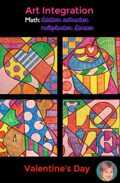 Integrate art and math together for the perfect review of math facts for your students. Addition, subtraction, multiplication and division all included in this Valentine's day math resource.