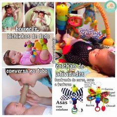 Atividades e sugestão de itens para bebês de 1 mês de vida | Mamãe Plugada Baby Bouncer, Kids And Parenting, Breastfeeding, Activities, Diy, Emei, Nalu, Gabriel, Baby Toys