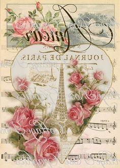 Paris Amour vintage Valentine Large digital by CottageRoseGraphics Decoupage Vintage, Vintage Diy, Vintage Labels, Vintage Flowers, Vintage Postcards, Album Vintage, Images Vintage, Vintage Pictures, Etiquette Vintage