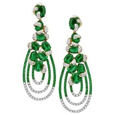 Casa Reale earrings featuring 18KT ROSE GOLD 2.31TCW DIAM 21.71CT EMERALDS