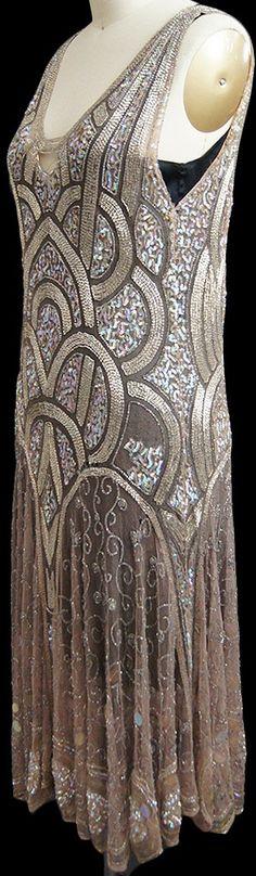 Robe de Soirée - Art Déco - Perles et Sequins - Années 20