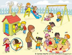Carmen Martín Illustrator: Prints and Posters of Early Childhood Education Speech Activities, English Activities, Preschool Activities, Speech Language Therapy, Speech And Language, Playground Pictures, Picture Comprehension, Sequencing Pictures, Math Talk