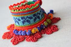 crocheted fiber bracelet with blue by irregularexpressions on Etsy