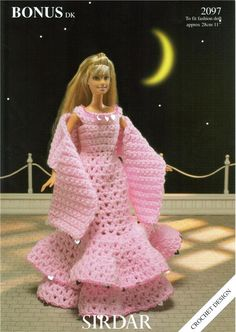 Image detail for -Sirdar Evening Dress Wrap for Barbie Doll Crochet pattern 2097