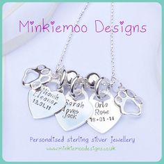 """Tiffany style hearts personalised with names & dates of birth hung on an 18"""" chain with two paw print charms to represent all family members including pets! #minkiemoodesigns"""