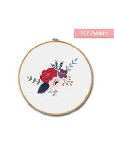 Flowers cross stitch pattern • Modern cross stitch • Flower wall decor • Instant Download PDF  • Design area: 7.79 x 5.86 inches or 19.78 x 14.88 cm • Fabric: Aida 14 count • DMC Colors: 10 • Stitches: 109 x 82