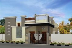 elevations of independent houses House Outer Design, Single Floor House Design, Wood House Design, Village House Design, Duplex House Design, House Front Design, Building Elevation, House Elevation, Elevation Plan