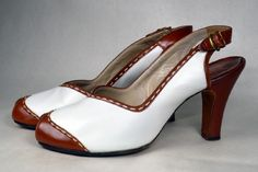 TWO TONE WHITE with BROWN LEATHER 1940's VINTAGE WOMEN'S SPECTATOR PEEP TOE PUMPS - DeLISO DEBS - ESTIMATED SZ. 9 1/2 - AVAILABLE AT RPVINTAGE.COM