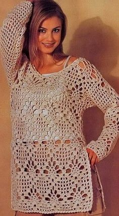 Handmade crochet dress tunic jumper women crochet clothes MADE TO ORDERStylish Tunic for Women More …We offer You a tunic crochet cotton. Cardigan Au Crochet, Crochet Tunic Pattern, Gilet Crochet, Crochet Shirt, Crochet Jacket, Easy Crochet Patterns, Knit Crochet, Crochet Sweaters, Crochet Tops