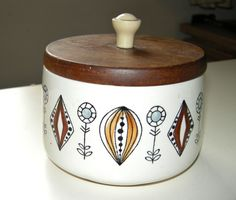 Vintage lidded pot by Egersund, Norway.