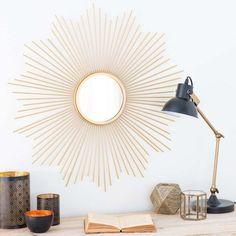Runder Spiegel aus Metall vergoldet D 70 cm SOLEDAD