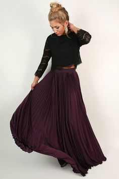 Pleat Me Pretty Maxi Skirt in Purple