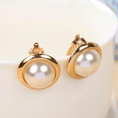 Gold Plated Big Imitation Pearl Ear Cuff Clip On Earring – shawalt