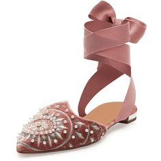 Aquazzura Stellar Embellished Velvet Ankle-Wrap Flat, Antique Rose (3 215 PLN) ❤ liked on Polyvore featuring shoes, flats, ankle wrap shoes, flat heel shoes, embellished shoes, aquazzura flats and ankle strap shoes