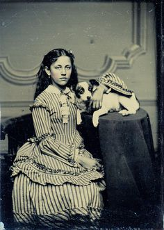 girl in a striped dress with a dog tintype by stephanie rubiano, via Flickr