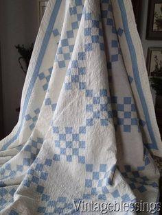 Pretty Antique 1920s Blue & White QUILT Sweet Cottage Home Vintageblessings