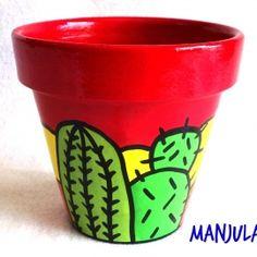 Ofelia - Macetas by Manjula Flower Pot Art, Flower Pot Crafts, Clay Pot Crafts, Diy Crafts, Deco Cactus, Cactus Art, Painted Clay Pots, Painted Flower Pots, Pot Jardin