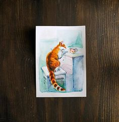 Curious ginger white cat in kitchen original watercolor