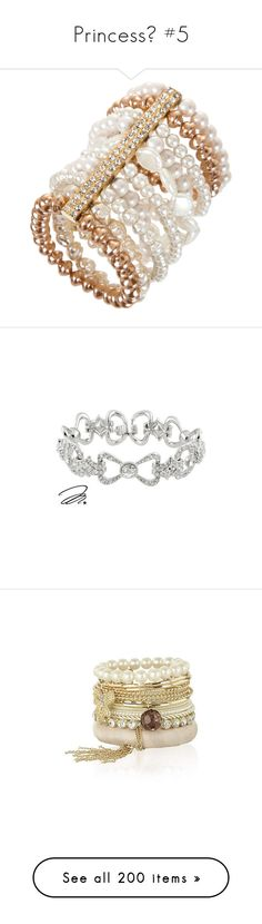 """Princess👑 #5"" by moon-and-starss ❤ liked on Polyvore featuring jewelry, bracelets, accessories, pulseiras, joias, pearl jewelry, bcbgmaxazria, pearl bangles, pearl jewellery and bronze jewelry"