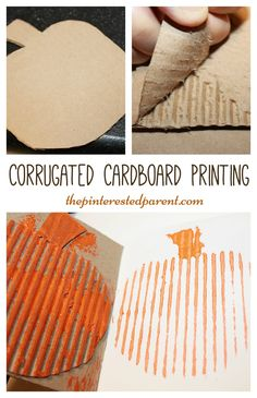 corrugated cardboard printing with a pumpkin for fall autumn or halloween arts…