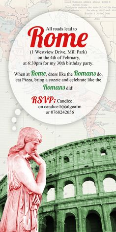 Roman themed party invitation