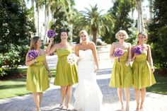 St Patrick's Day Weddingby Sara Kauss   Green bridesmaids dresses, purple bouquets, green wedding shoes