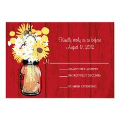 This DealsMason Jar Daisies Sunflowers & Billy Balls  RSVP Personalized InvitationIn our offer link above you will see