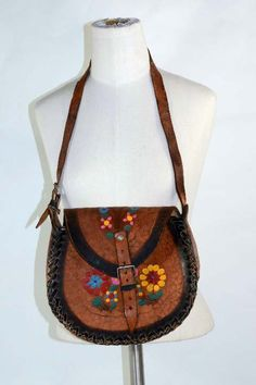 Vintage 70s Tooled Leather Shoulder Handbag + Hand Painted Flowers, Boho Hippie Festival Wear Purse