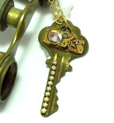 Golden Key Steampunk OOAK Necklace Vintage 17 Jewels Watch Movement Rhinestones Exclusive Design By Mystic Pieces